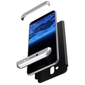 SainCat Coque pour Nokia 7 Plus, Ultra Slim Coque Plastique Souple 360 Degres Full Body 3 in 1 Rigide Anti-Rayures Premium Bumper Housse Coque pour Nokia 7 Plus-Argent et Noir