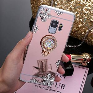 SainCat Coque pour Samsung Galaxy S6, Coque Miroir Silicone Paillette Strass avec Anneau Etui de Protection Anti-Rayures Ultra Slim Premium TPU Bumper Coque pour Samsung Galaxy S6-Or Rose