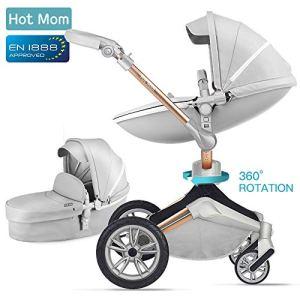 Hot Mom Poussette combinée – F023 2019 Nouveau design – Grey