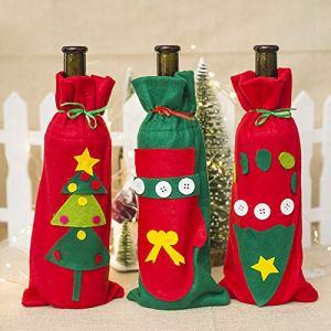 XdiseD9Xsmao Noël Mignon Gant Délicat Empreinte Arbre Bouteille De Vin Couverture Sac Sac De Noël Dîner Parti Décor Ajouter Ambiance à Ce Noël Arbre de Noël#