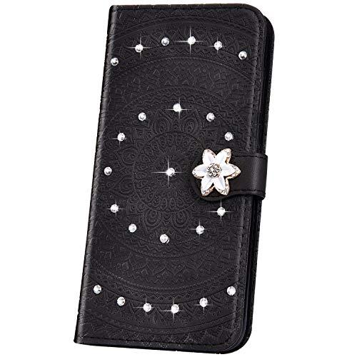 JAWSEU Compatible avec Huawei Mate 20 Pro Coque Pochette Portefeuille Housse Etui à Rabat Cuir Mandala Fleur Glitter Brillante Strass Stand Magnétique Flip Wallet Case,Noir