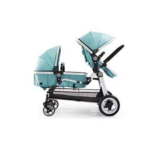 Double poussette légère pour bébé avec sièges avant et arrière inclinables