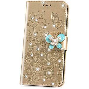JAWSEU Coque Nokia 5.1 2018,Etui Nokia 5.1 2018 Portefeuille PU,Glitter Paillette Brillant Flip Wallet Cuir Coque Papillon Fleur Diamant Strass Case Magnétique Stand Cuir Folio Etui Coque,Or