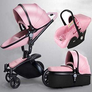 QZX Poussette 3 en 1 Système de Voyage pour Poussette pour bébé Poussette Pliable avec Fonction de Rotation 360 et siège réglable Fram léger,Pink