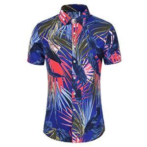 2020 Funky Chemise pour Hommes, YUYOUG⛱ Chemises Boutonnées Manche-Courte en Coton pour Daily Business Plage Fête Aloha Hawaiian-Imprimer Mode T-shirts Décontractés