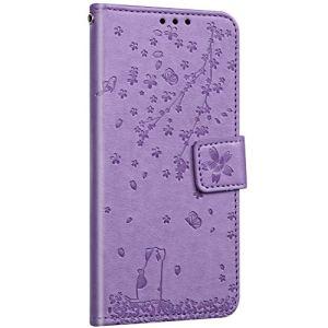 Saceebe Compatible avec Samsung Galaxy S7 Edge Coque Cuir Portefeuille Etui Rabat Housse Protection Fleurs de Cerisier Chat Motif Flip Case Clapet Porte Cartes Fermeture Magnétique,Violet