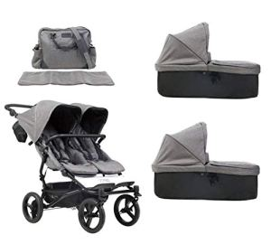 Mountain Buggy duet buggy V3 Luxury Collection Poussette double siège avec sac à langer + 2 nacelles Carrycot plus – Motif herringbone