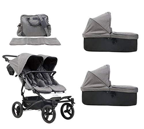 Mountain Buggy duet buggy V3 Luxury Collection Poussette double siège avec sac à langer + 2 nacelles Carrycot plus – Motif herringbone
