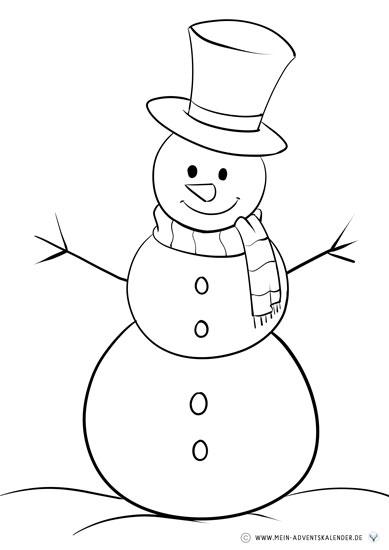 Weihnachtliche Malvorlagen Schneemann
