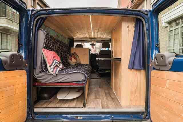 bett ausbau ausziehbared Bett Camper