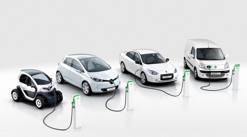 Dies sind die Elektroautos von Renault (vlnr.): Twizy, Zoe, Fluence ZE., Kangoo Z.E.. Bildquelle: Renault