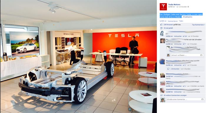 Symbolbild. Der Tesla Store in Stuttgart. Bildquelle: Tesla Motors
