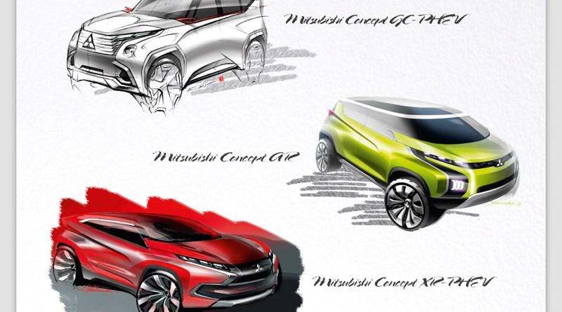 Dies sind die drei Konzepte der drei neuen Plug-In Hybridautos von Mitsubishi. Bildquelle: Mitsubishi