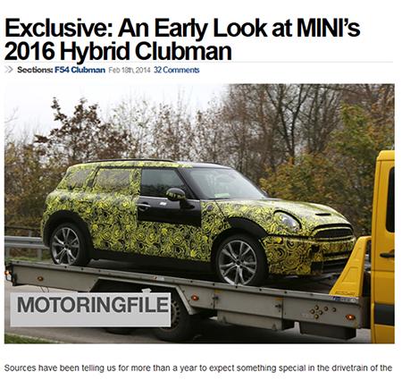 """Dies könnte der Mini Clubman mit Plug-In Hybridantrieb sein, noch steckt er in seiner """"Tarnlackierung"""". Bildquelle: Screenshot Motoringfile.com"""