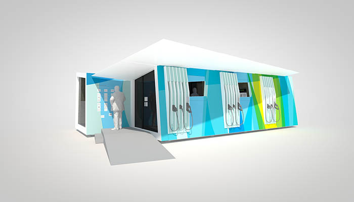 Ein Computermodell der chargeLounge. Bildquelle: © Fraunhofer IAO, design: FURcH gestaltung + Produktion GmbH