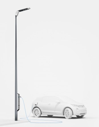 Mit dem BMW Light and Charge können Elektroautos bequem an einer Straßenlaterne aufgeladen werden. Bildquelle: BMW