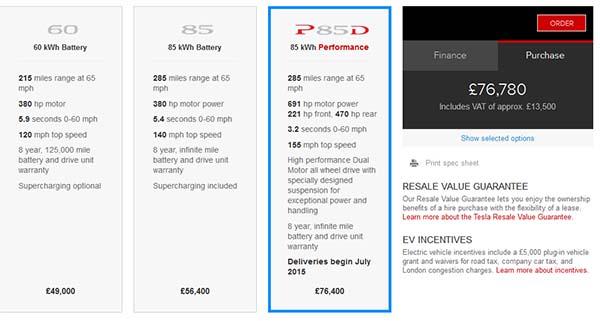 In Großbritannien wird das Elektroauto Tesla Model S mit Allradantrieb erst im Juli 2015 ausgeliefert. Bildquelle: Screenshot von http://www.teslamotors.com/