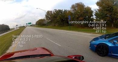 Elektroauto Tesla Model S P85D vs Lamborghini Aventador Race. Bildquelle: Screenshot Youtubekanal von Rego Apps