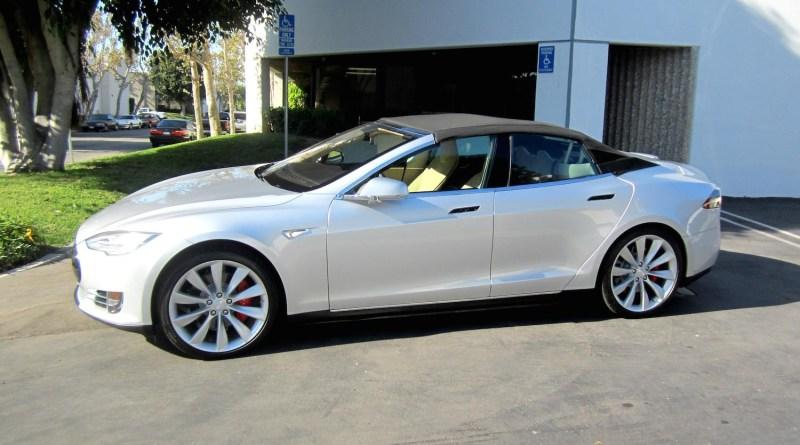 So sieht das Elektroauto Tesla Model S als Cabrio aus. Bildquelle: Newport Convertible Engineering