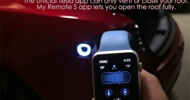 Das Elektroauto Tesla Model S lässt sich per Apple Watch steuern. Bildquelle: Screenshot Youtube.com/Rego Apps
