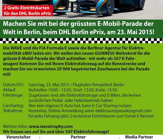 Jetzt noch für den Elektroauto-Weltrekordsversuch in Berlin anmelden