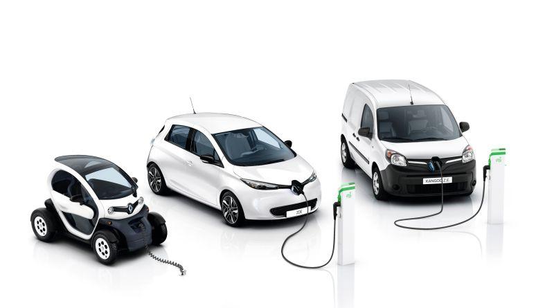 Hier sieht man die Elektroautos Renault (v.l.n.r.) Twizy, Zoe und Kangoo Z.e. Bildquelle: Renault