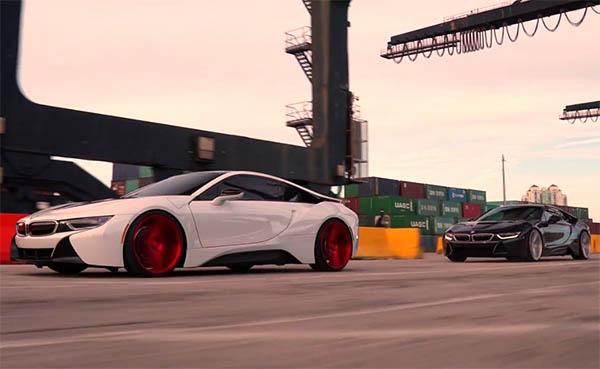 Vossen verwandelt das Plug-In Hybridauto BMW i8 am Hafen von Miami in Kunst. Bildquelle: VossenWheels / Youtube.com