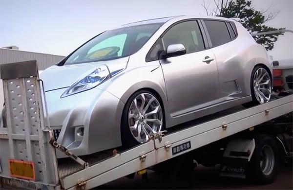 So sieht das Elektroauto Nissan Leaf nach dem erfolgreichen tuning aus. Bildquelle: customind8 (Youtube.com)