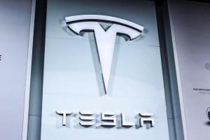 Electric car Tesla Motors logo IAA 2015
