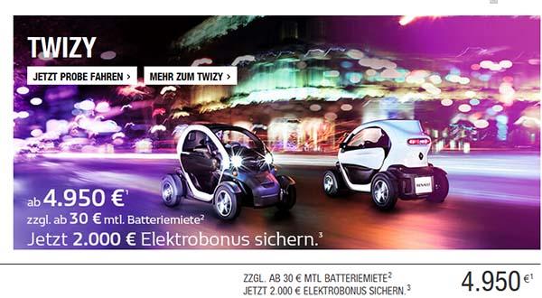 Das Elektroauto Renault Twizy gibt es dank Elektrobonus 2.000 Euro günstiger. Bildquelle: Renault