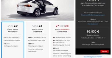 Elektroauto Tesla Model X Konfigurator. Bildquelle: Screenshot https://www.teslamotors.com/de_DE/modelx/design