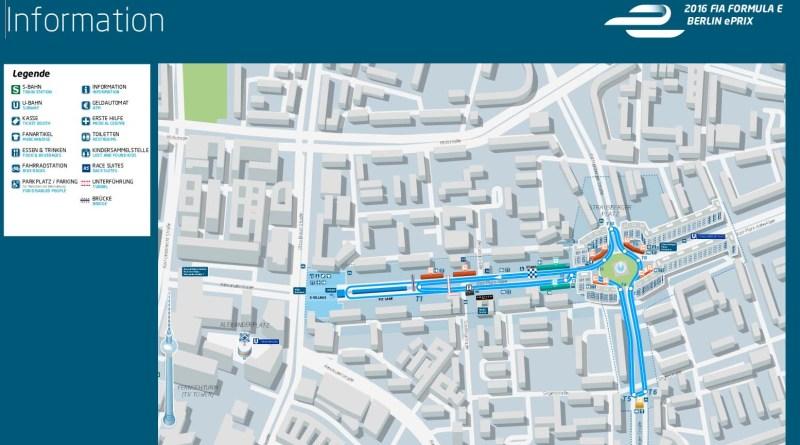 Kartenausschnitt des e-Prix Elektroauto-Rennens der FIA in Berlin 2016. Bildquelle: Fia Formula E