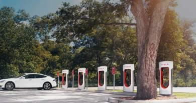 Nicht immer gibt es so viele freie Plätze an den Superchargern, wer sein Elektroauto kostenlos aufladen will, muss mitunter etwas Geduld mitbringen. Bildquelle: Tesla Motors