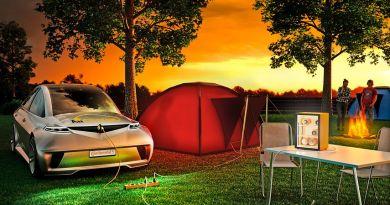 Das bidirektionale AllCharge System eröffnet völlig neue Nutzungsmöglichkeiten für die große in der Fahrzeugbatterie gespeicherte Energiemenge, beispielsweise am Campingplatz. © Continental
