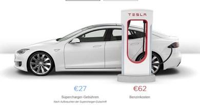 So günstig ist das Aufladen eines Elektroautos. Tesla stellt einen Kostenrechner für seine Supercharger zur Verfügung. Bildquelle: Screenshot: Tesla.com