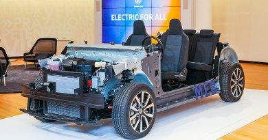 So sieht der Elektoauto-Baukasten MEB am Beispiel des Elektroauto VW I.D. aus, welches im Jahr 2019 auf den Markt kommen soll. Bildquelle: Volkswagen