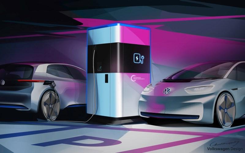 Erste Mobile Schnellladestation für Elektroautos von Volkswagen. Bildquelle: Volkswagen