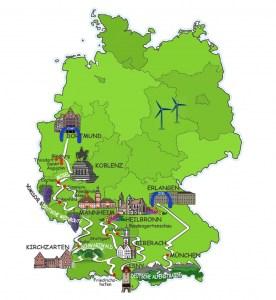 Die Route der Wave im September 2019 in Deutschland. Bildquelle: Wavetrophy