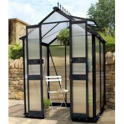 gewachshaus 1 95m schwarz doppelstegplatten aus polycarbonat 6mm birdlip eden greenhouses