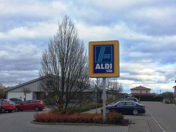 #Bayern: Mein Aldi wie ich ihn kenne: Aldi Süd, das Logo in orange-gelb. Standort #rainamlech
