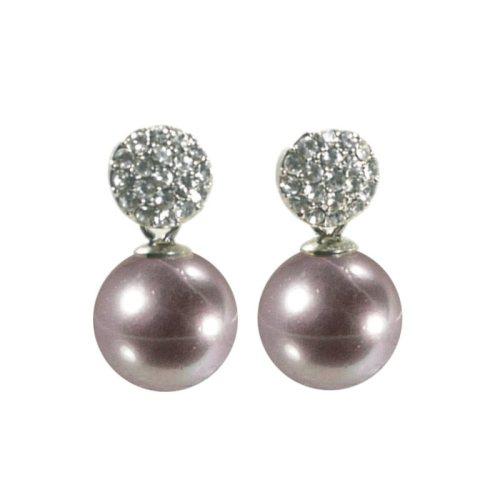 Ohrring mit Kristallkugel und Perle beige