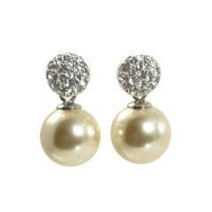 Ohrring mit Kristallkugel und Perle weiss