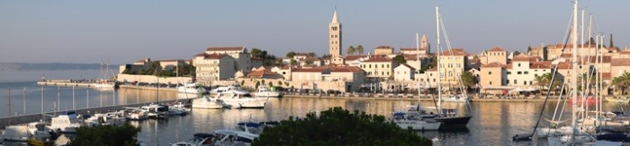 RAB, CROATIA - CIRCA AUGUST 2015: View of the town of Rab, Croatian tourist resort on the homonymous island.