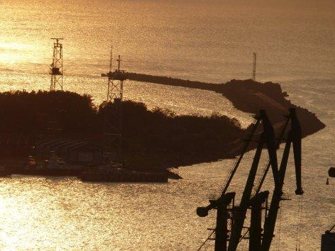 Hafen von Klaipeda und Blick auden Beginn der Kurischen Nehrung