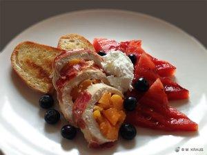 Gegrillte fruchtige Hähnchenbrust und Melone