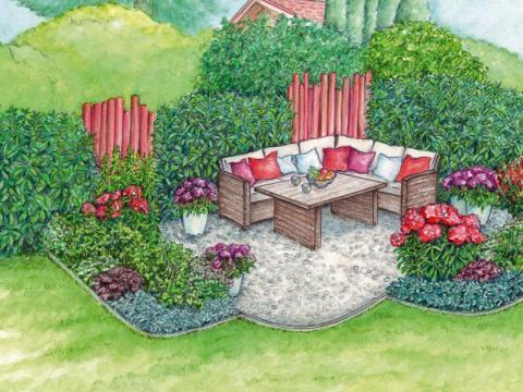 gestaltungsideen grundstücksgrenze sitzplatz in der gartenecke gestalten - mein schöner garten