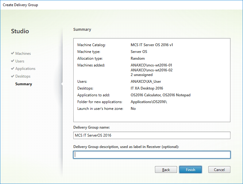 Summary - Delivery Group name