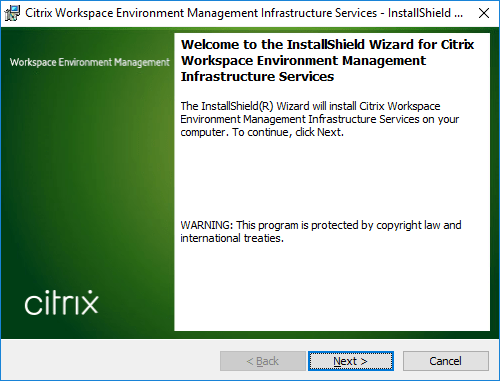 Citrix Workspace Environment Management Infrastructure Services Setup.exe