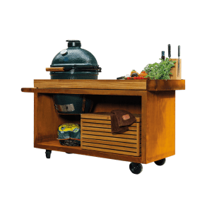 OFYR Kamado Table PRO Corten Teak Wood Big Green Egg
