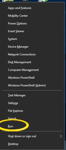 Open Run From The Power Menu - Windows + X - Windows 10